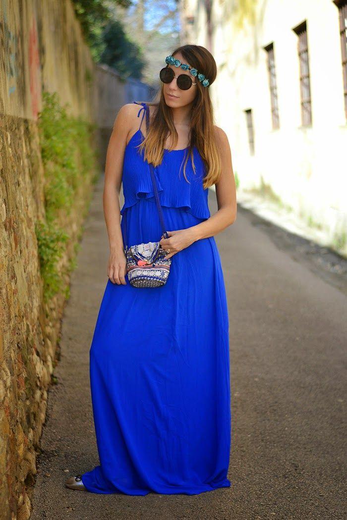 cheap for discount 52e06 e2474 abito lungo blu elettrico - royal blue long dress - 70s ...