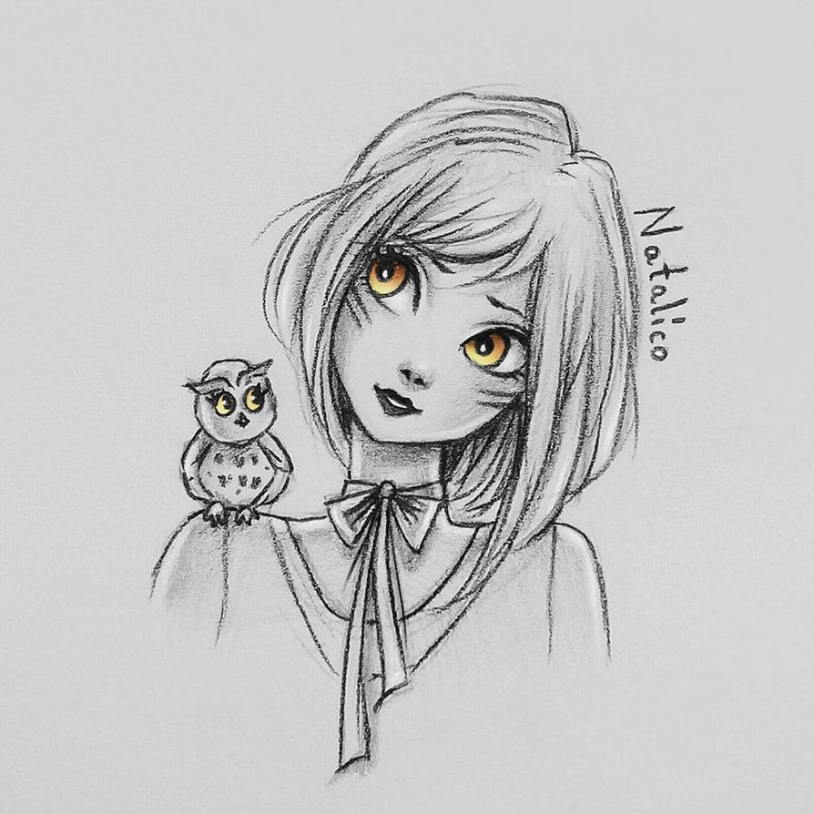 Girl and owl by natalico pentekening pinterest owl girls and