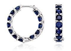 Sapphire Hoop Earrings in 14k White Gold
