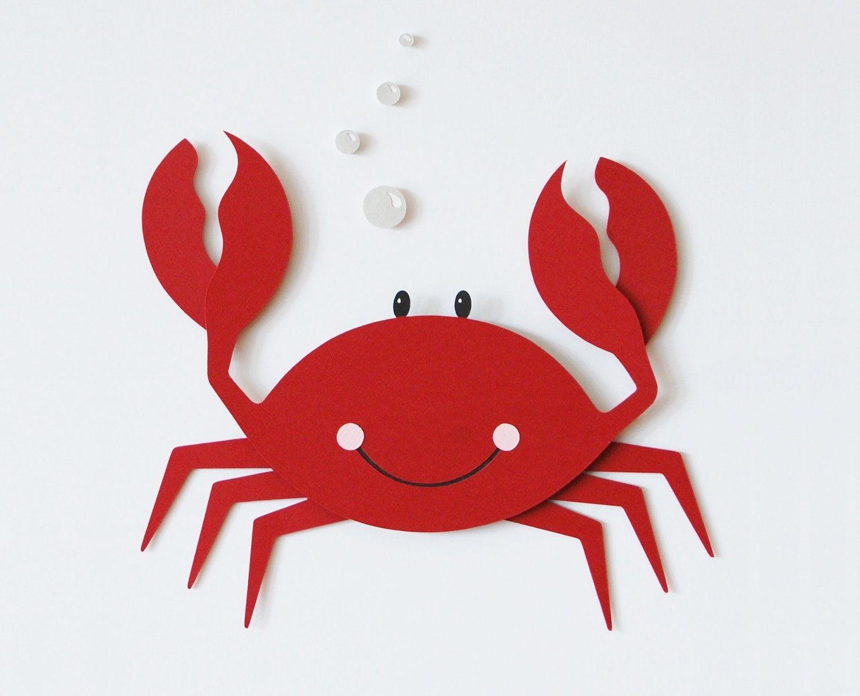 Crab Wall Decor Childrens Matted Art Sea Creature Marine Animal Red 23 00 Via Etsy