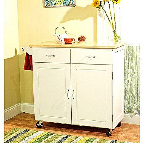 Large Kitchen Cart with Wood Top White -- Continue to the product at