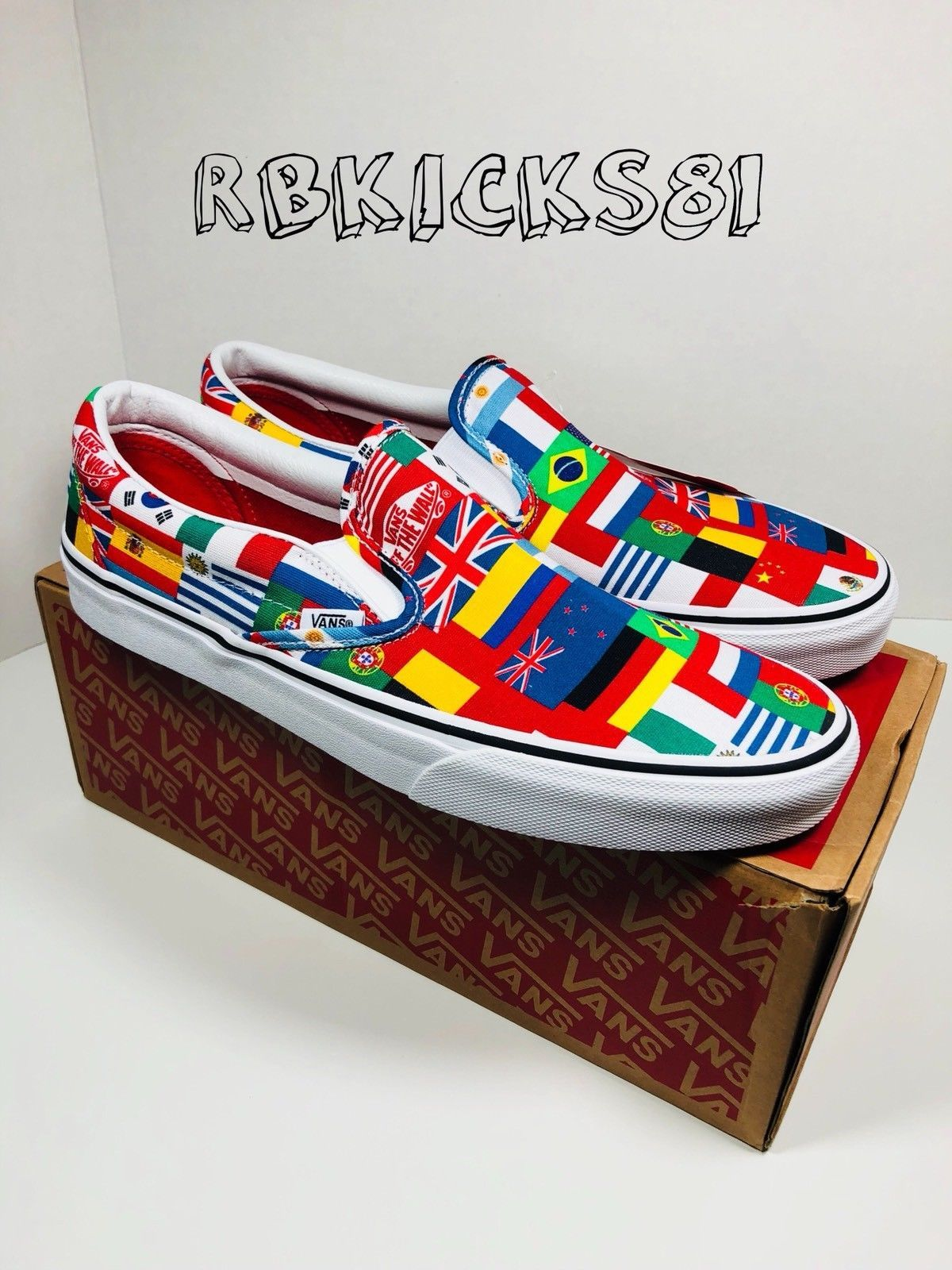 36e0047225f Vans Slip On World Cup 2018 White Multicolor National Flags Mens Sz 10.5  Discount Price 84.99 Free Shipping Buy it Now