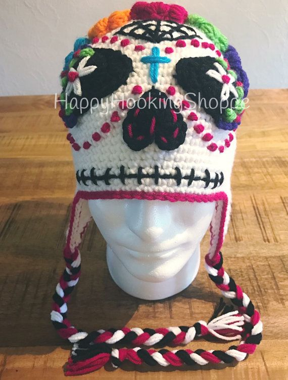 Sugar Skull Crochet Hat | Azúcar, Ganchillo y Gorros