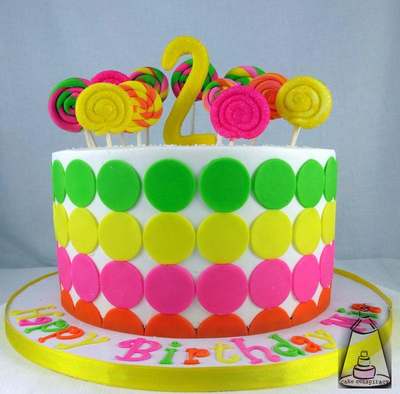Bright Polka Dot Birthday Cake Girl Birthday Cakes Pinterest