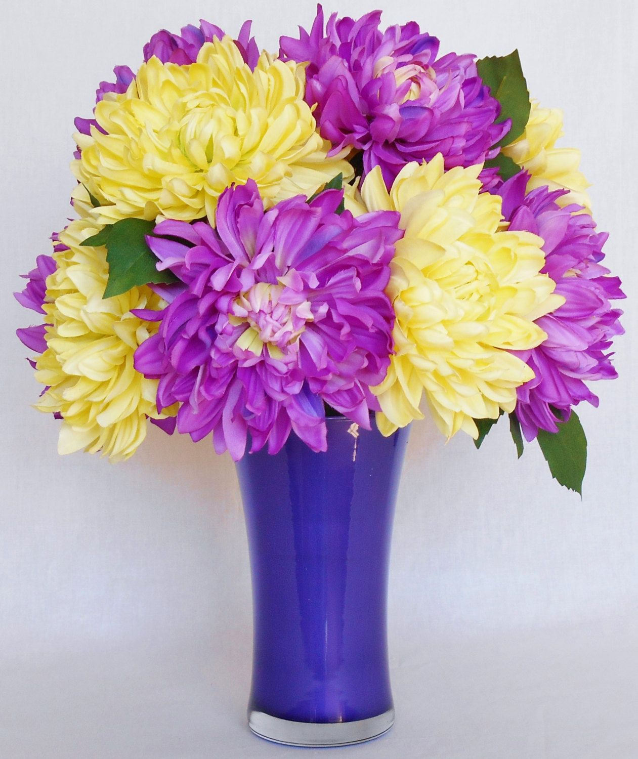 Silk Flower Arrangement Purple Dahlias Yellow Dahlias Deep Purple