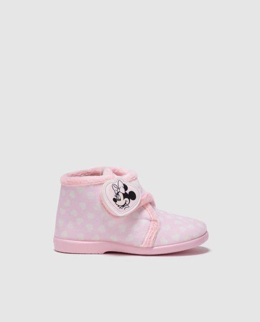 2cda85271 Zapatillas de casa de bebé niño Disney Minnie de color rosa con cierre  velcro