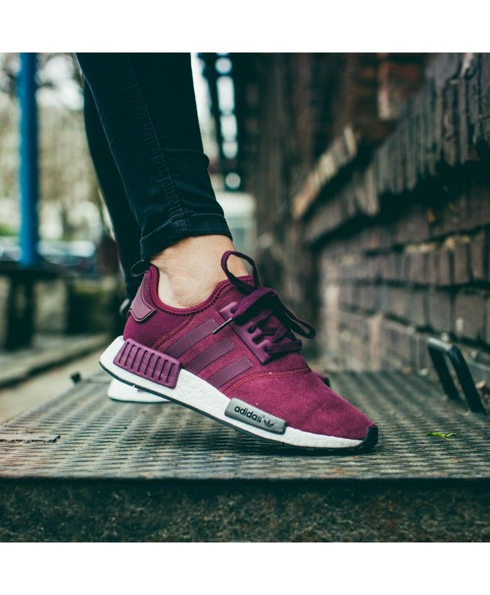 lowest price dc632 6b687 Adidas NMD R1 Burgundy Maroon Solid Grey Shoes