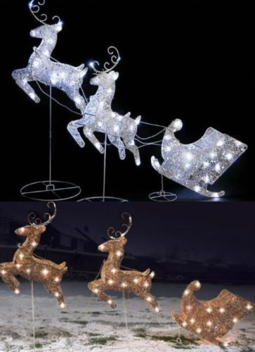 Details About Silver Gold Led Lights Reindeer Deer Sleigh Outdoor Garden Christmas Decoration