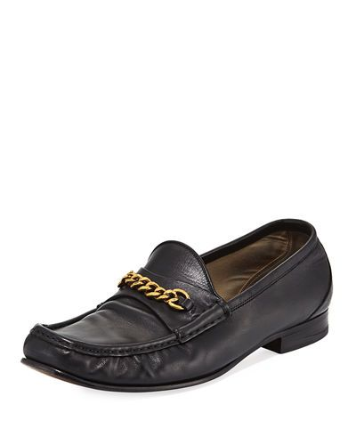 York Chain Leather Loafers In Black