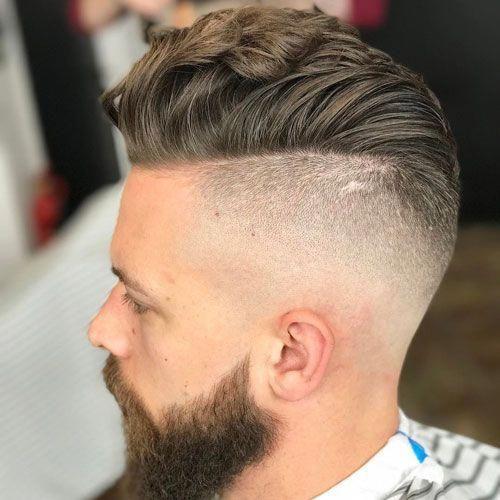 Undercut Fade + Pompadour + Long Beard menshairstyles