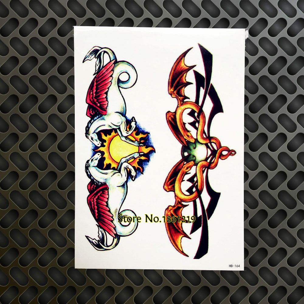 901e94bc22ea9 3D Henna Flying Horse Temporary Tattoo Sticker, Bag Wings Fake Flash Tattoo  Neck Totem, Women Men Body Art Legs Shoulder Arm