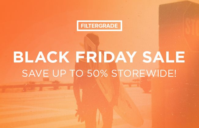 Huge Black Friday Sale on FilterGrade from 11/26-12/1! Save 50% on Photoshop actions, Lightroom Presets, Photoshop Brushes, Textures, and more.