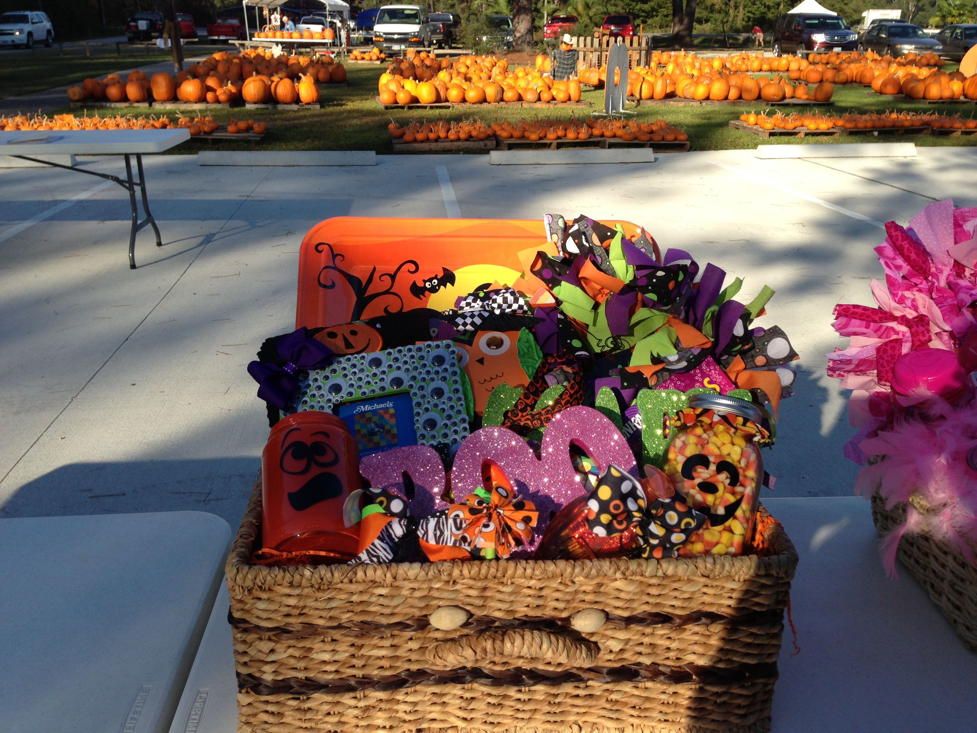 Handmade Halloween silent auction basket for fall festival | gift ...