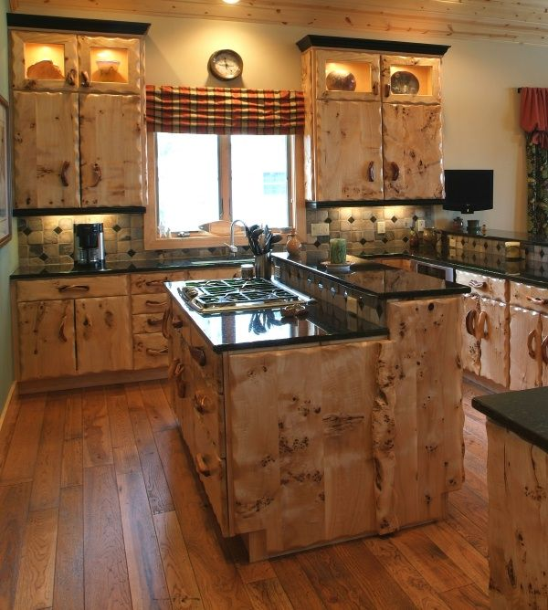 Craftsman style furniture burl wood kitchen cabinets for Western kitchen cabinets