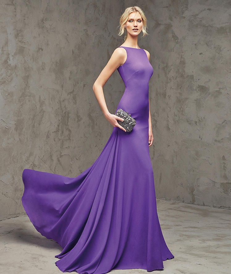FILIA- Flared cocktail dress in purple, in georgette. Bodice with ...
