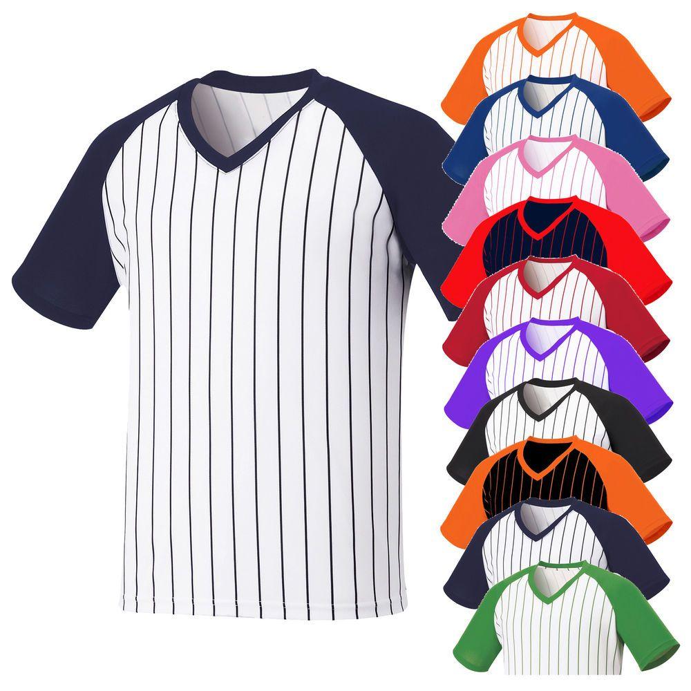 Mens V Neck Baseball Striped Jersey Raglan T Shirt Team Sport Tee Tops Xs Xl Striped Jersey Striped Baseball Tee Sports Tees