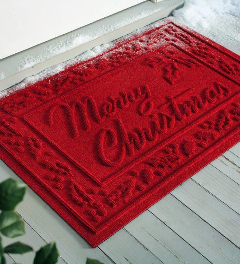 Absorbent Waterhog™ Snowflake And Merry Christmas Door Mats