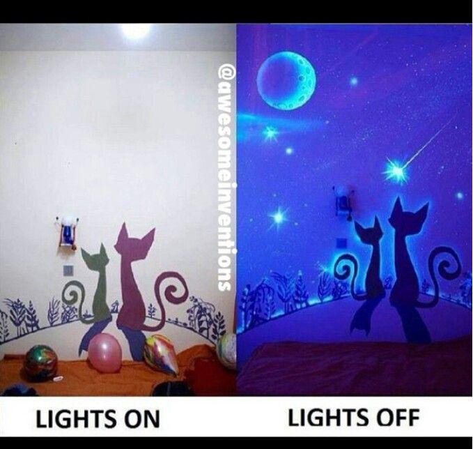 Glow in the dark paint used to create a nice kidsroom