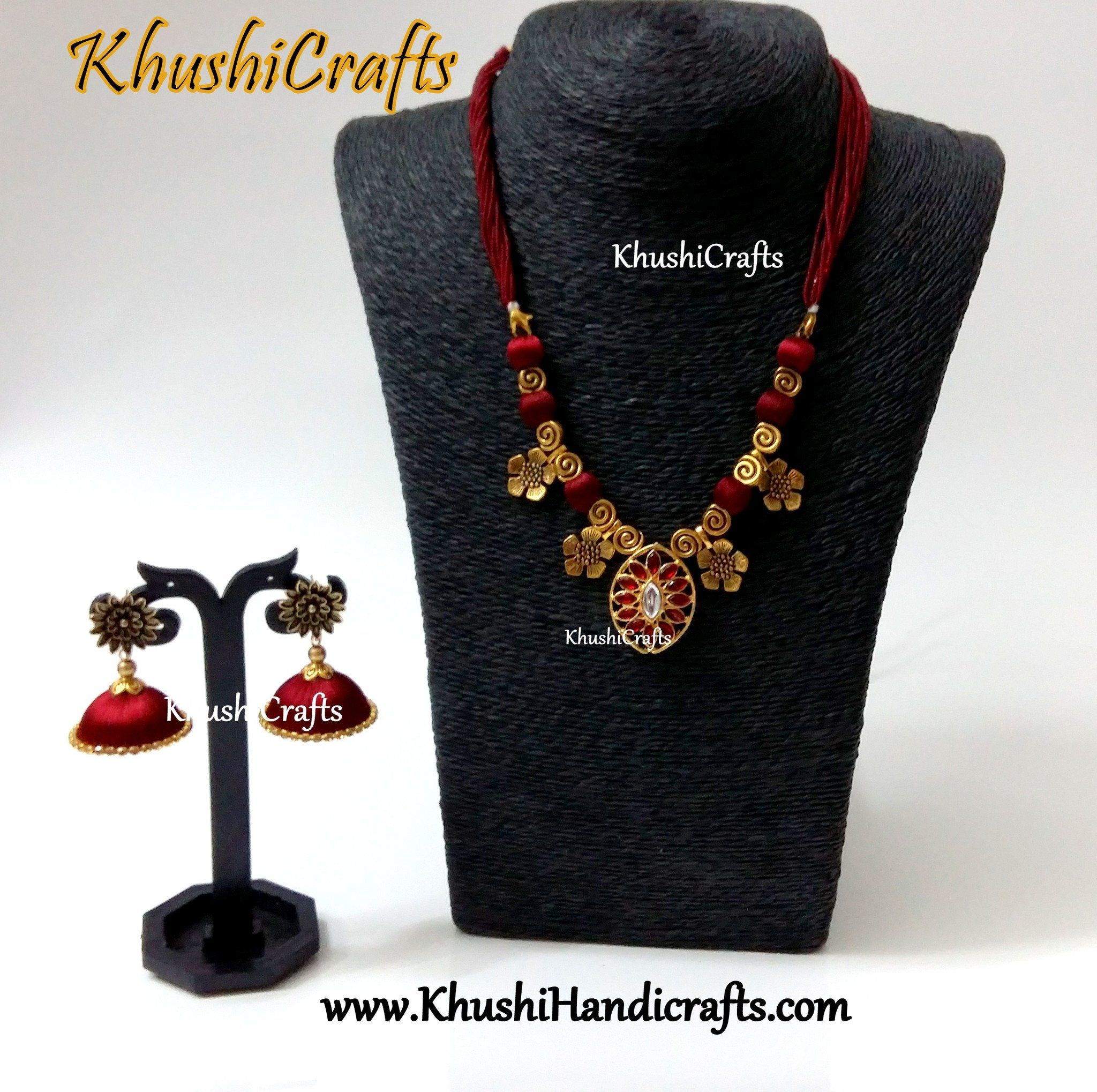 Designer Maroon silk thread Necklace set | Silk thread Handmade ...