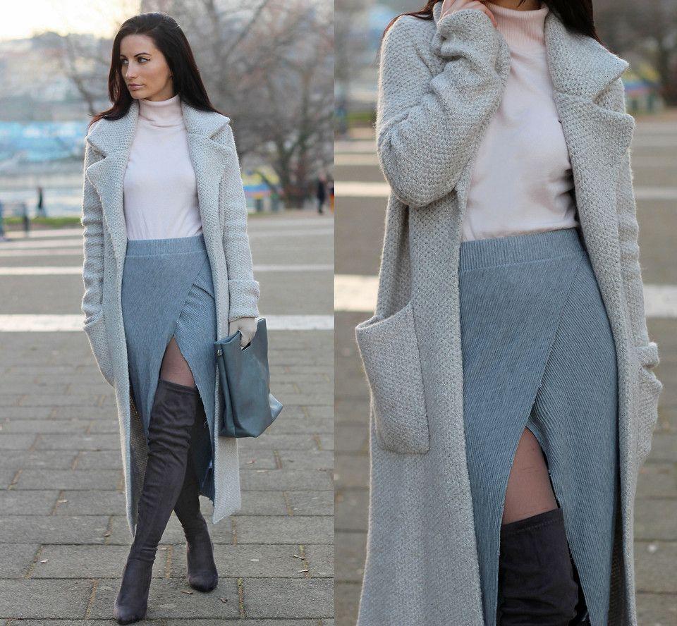 Anna Maria - Zara Grey Knit Coat, Jennyfer Turtleneck Sweater ...