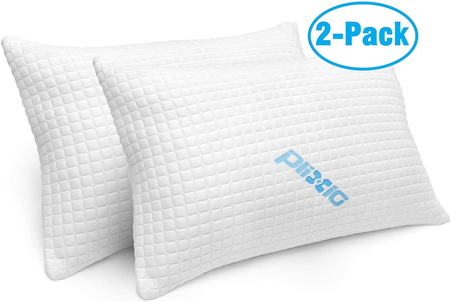 2 Pack Shredded Memory Foam Bed Pillows For Sleeping Bamboo Cooling Hypoallergenic Sleep Pillow Foam Pillows Bamboo Pillow Bed Pillows