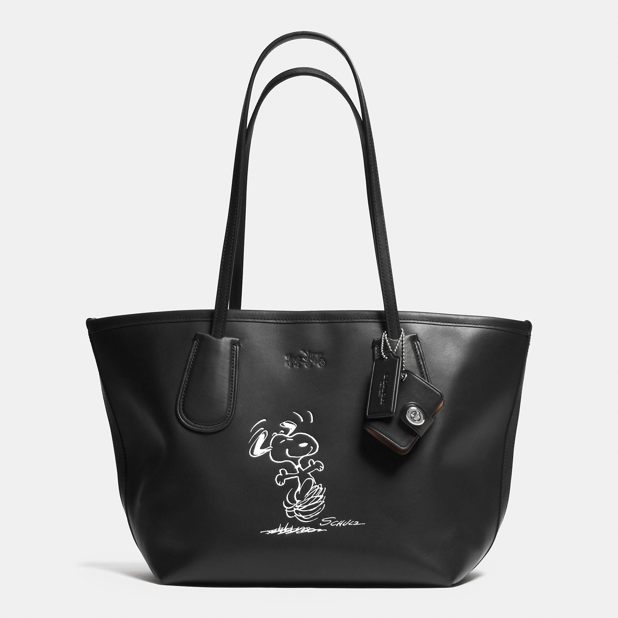 coach x peanuts coach taxi tote 24 in leather collaborations