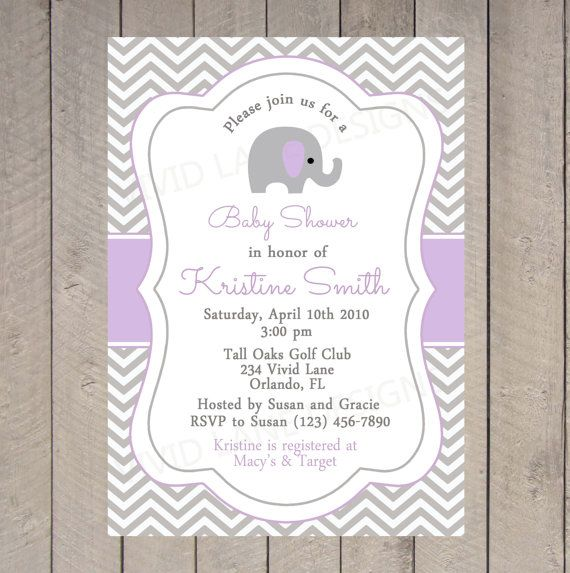 Elephant Baby Shower Invitation, Printable - Chevron, Purple and - baby shower invitation backgrounds free