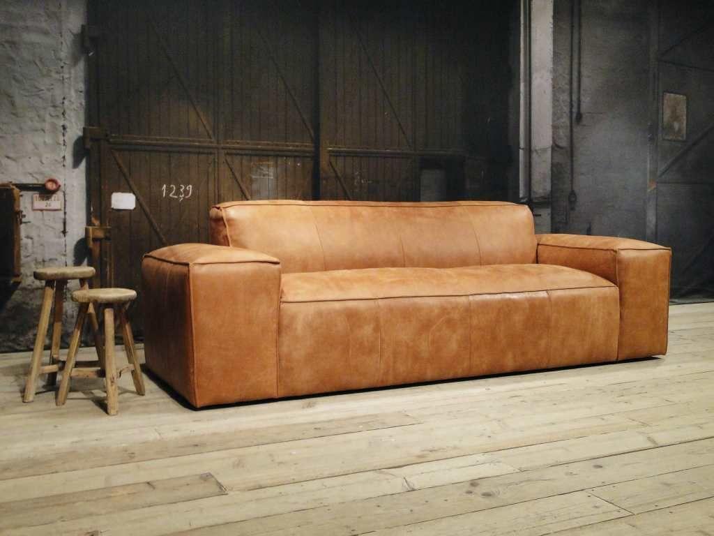 Bank maranello leer walnut decor sofa living room