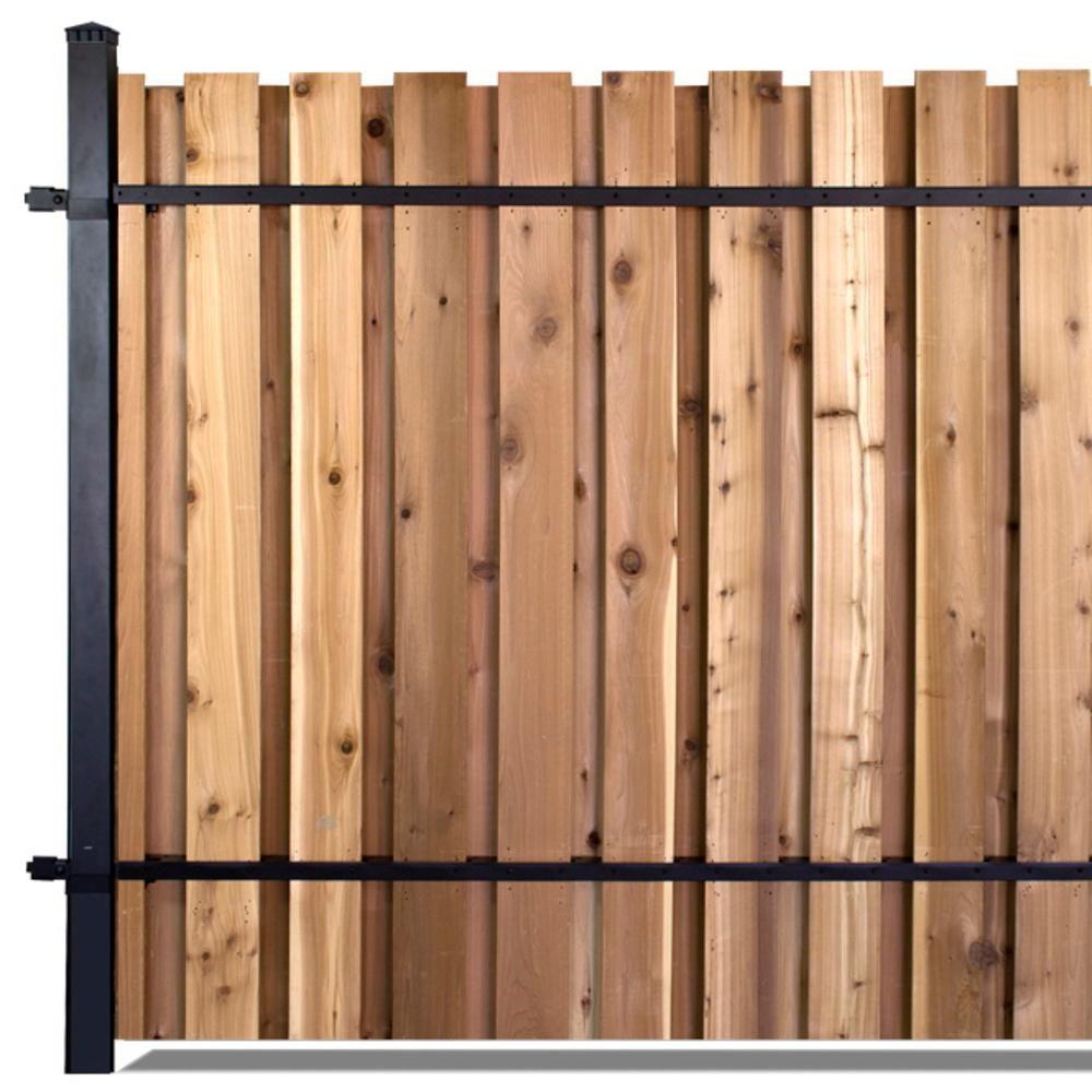 6 Ft X 8 Ft Black Aluminum Middle Post Fence Panel Kit With 8 Ft Post Fence Panels Wood Fence Post Wooden Fence Panels