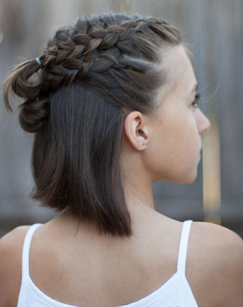 Moderne Frisuren Mittellang Französischer Zopf Flechten Frisuren