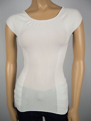 SARAH PACINI New Top 1 S Form Fitting Tube Style Off White Shirt Made In Italy