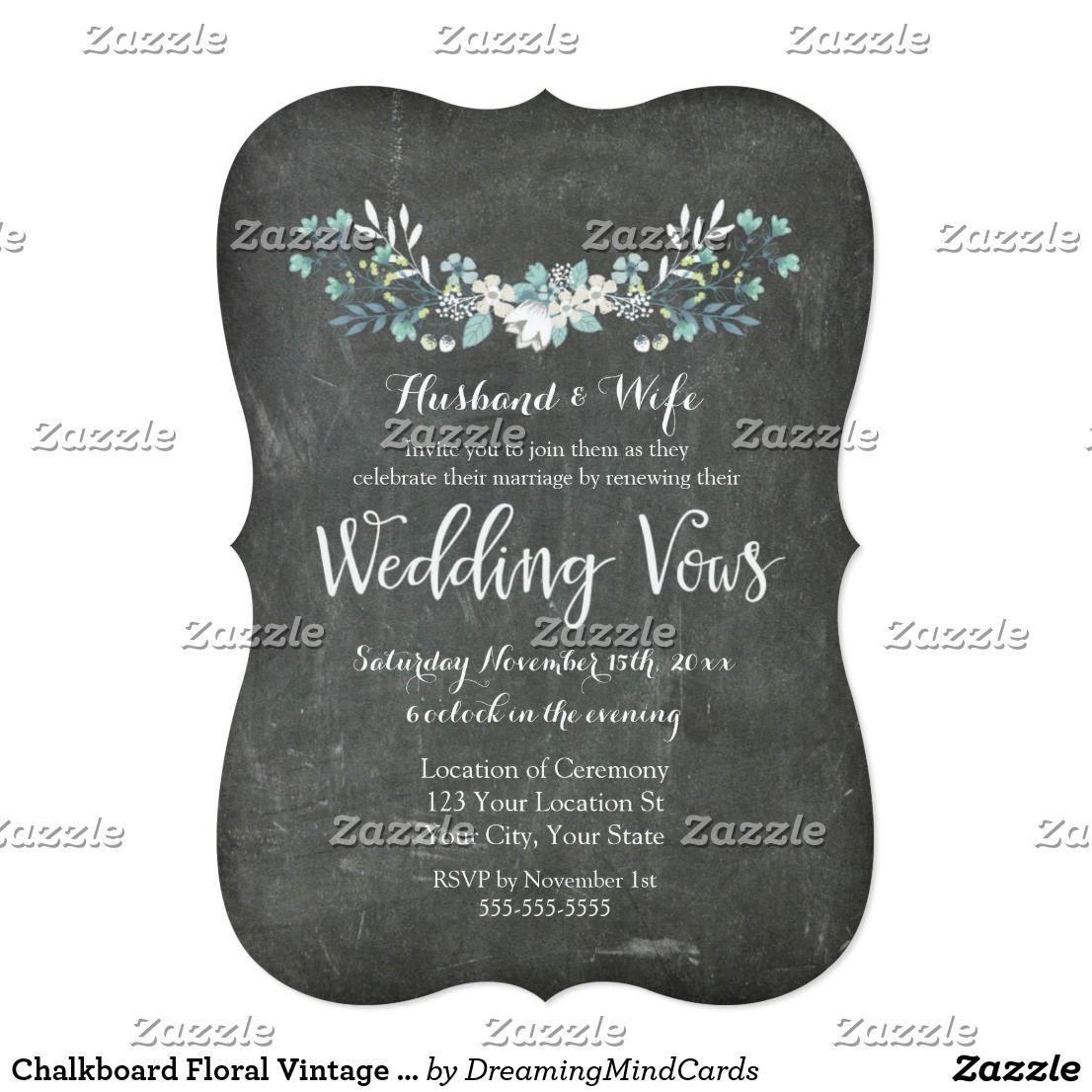 Chalkboard Fl Vintage Vow Renewal Invitation Zazzle