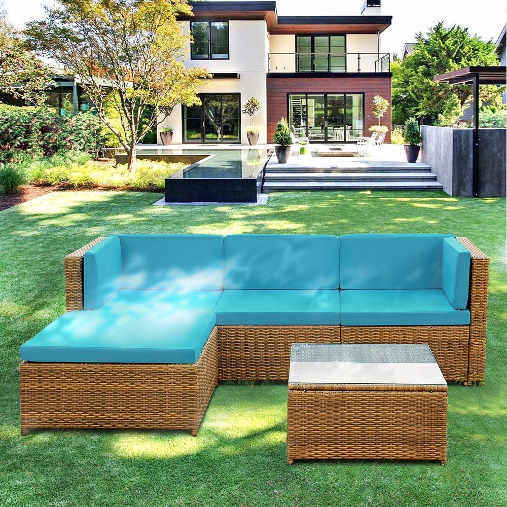 Amazon Com Ikayaa Outdoor Patio Furniture Set 5 Piece Wicker