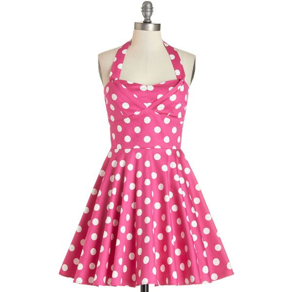 50s Short Length Halter Fit & Flare Traveling Cupcake Truck Dress ($60) ❤ liked on Polyvore featuring dresses, pink, modcloth, robes, apparel, fashion dress, short dresses, short halter dress, pink fit and flare dress e polka dot dress