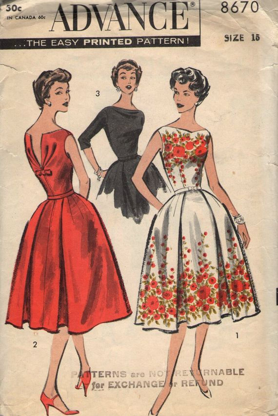Vintage 40s Advance Sewing Pattern 40 Misses' Dress With Enchanting Vintage Dress Patterns 1950s