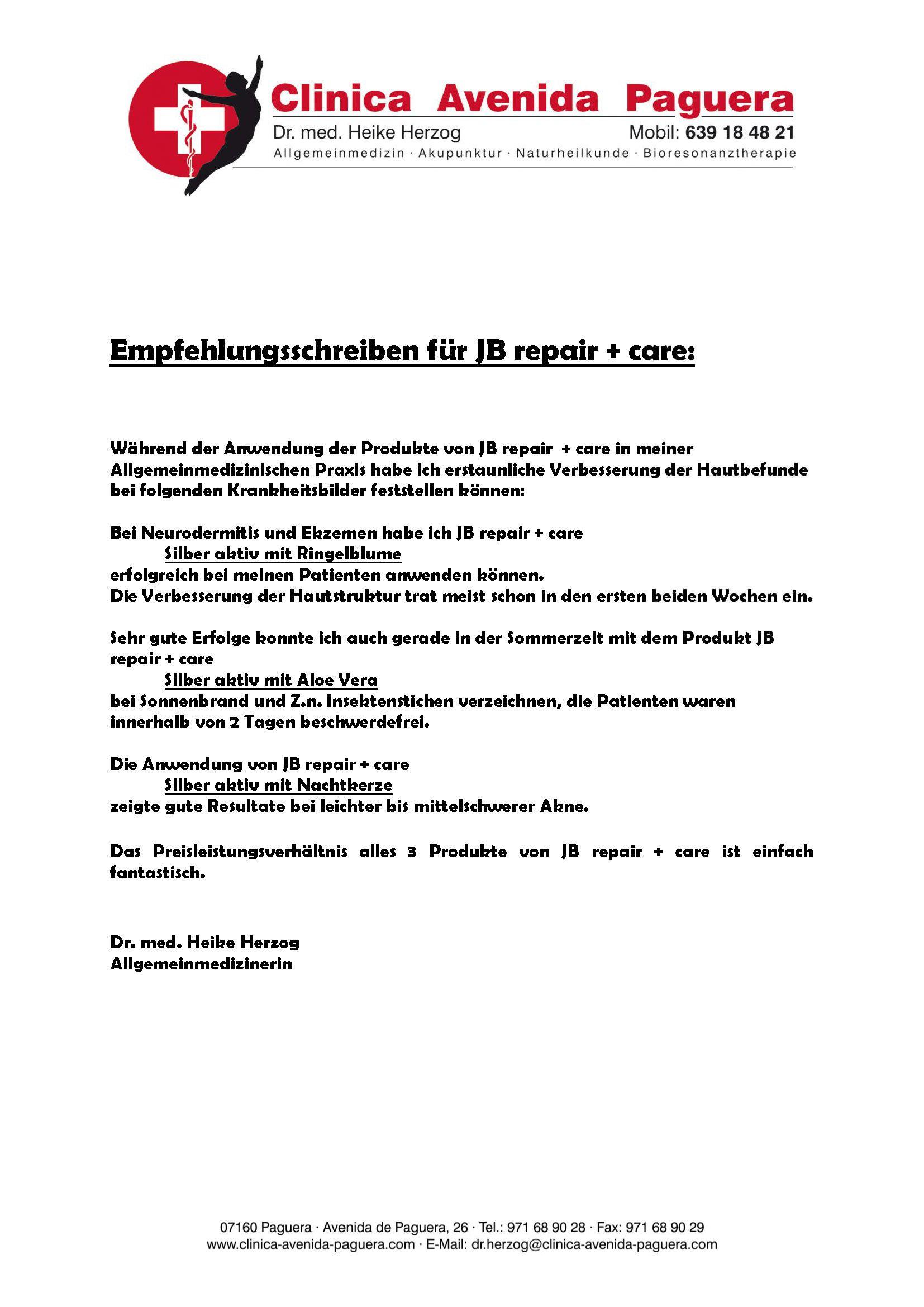 Empfehlungsschreiben für JB repair + care Hautcreme ...