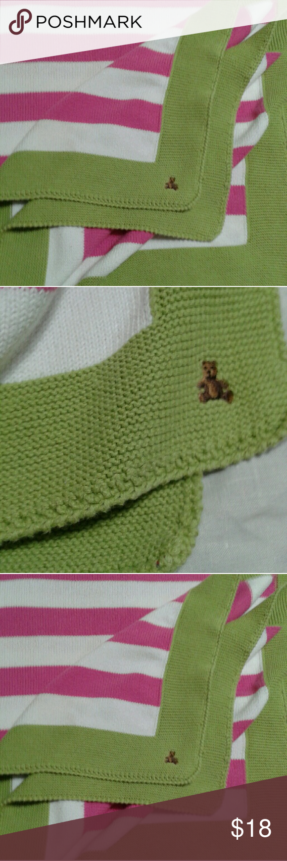 Knitted Baby blanket. Very lightly used Baby Gap blanket in raspberry pink, white, and lime green.  Care label is attached. Baby Gap Other
