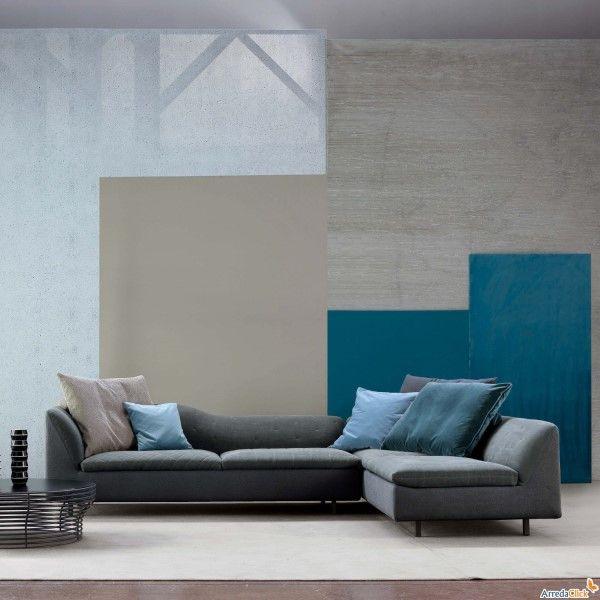 grigio e azzurro   Divano componibile, Arredamento grigio ...