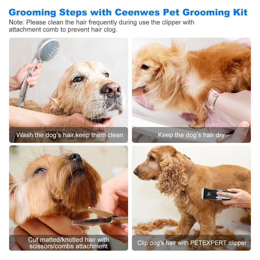 Petexpert Dog Clippers Cordless Dog Grooming Clippers Kit Rechargeable Quiet Pet Hair Clippers Trimmer Wi Dog Grooming Clippers Dog Grooming Tools Pet Grooming