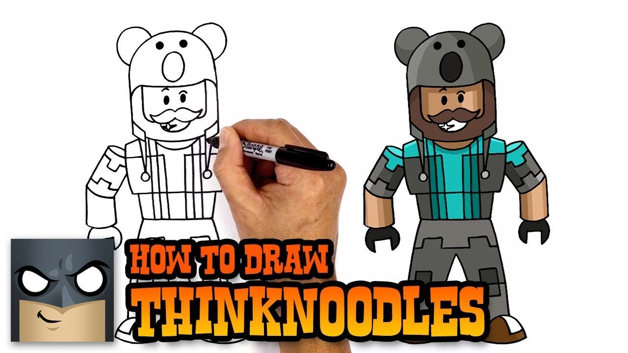Easy Roblox Drawings How To Draw Thinknoodles Roblox Step By Step Drawing Roblox Draw
