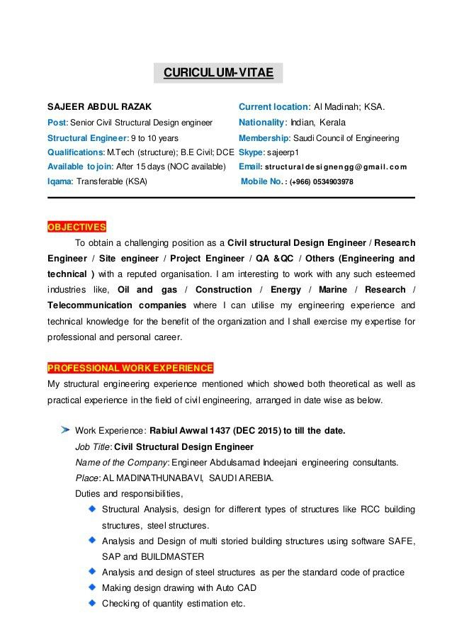 Structural Engineer Resume Sample Cv Of Civil Structural Design Engineer Sampleresume Fr Structural Design Engineer Engineering Design Structural Engineering