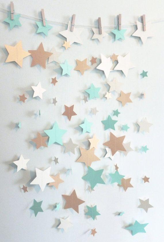 Mint Shimmer Gold and Ivory Stars Paper by SassyPantsNebraska
