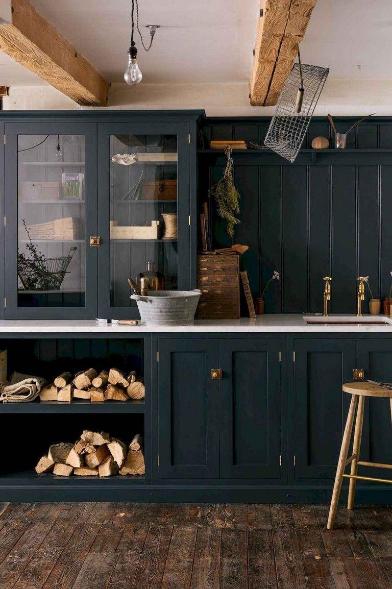 35 Fabulous Farmhouse Kitchen Ideas On A Budget Farmhouse Kitchen Cabinets Black Kitchen Cabinets Navy Kitchen Cabinets