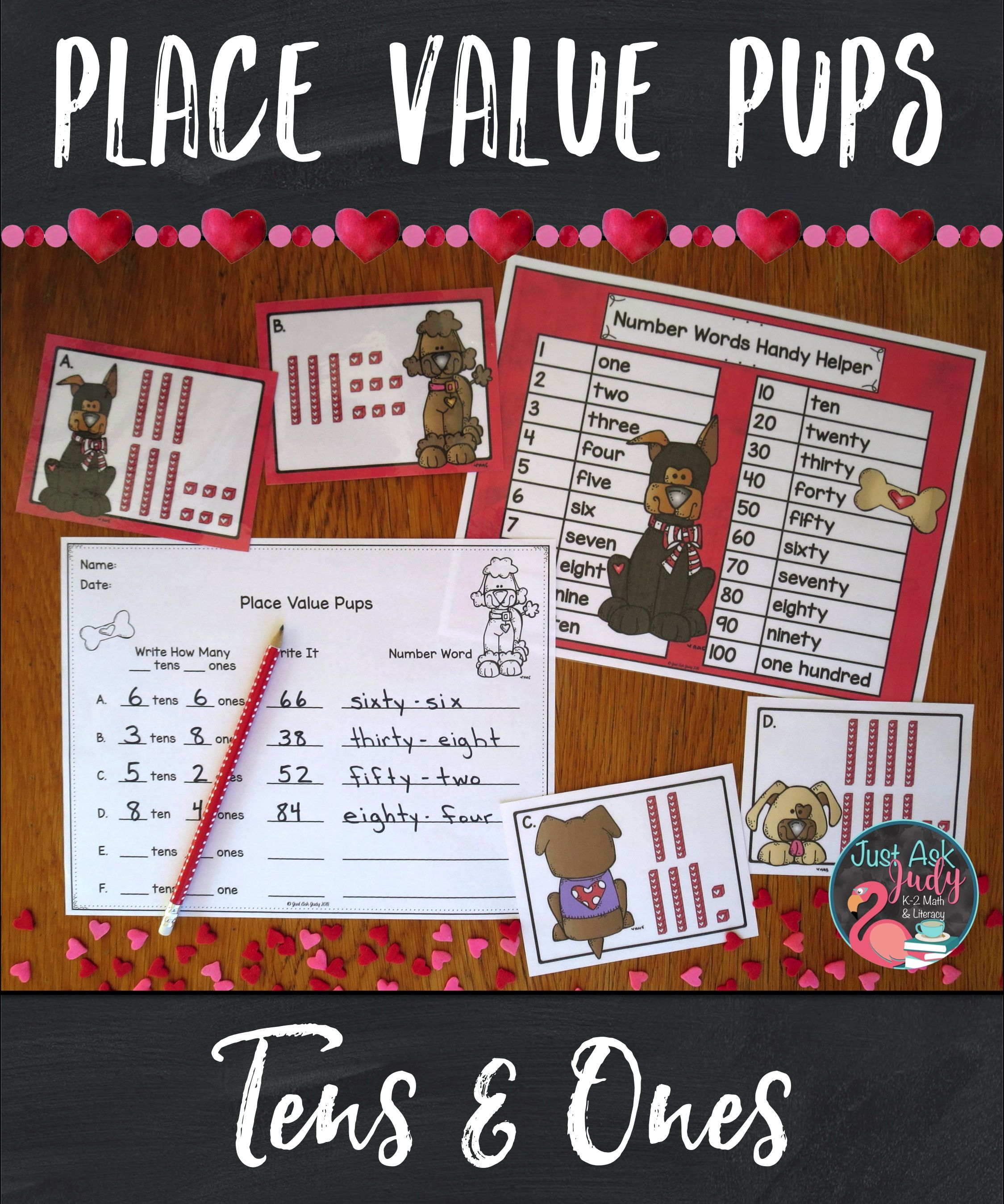 Place Value Pups Tens And Ones Valentine S Day Activity In