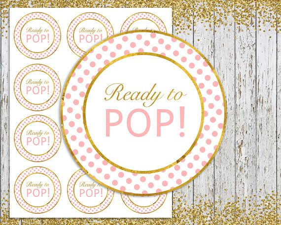 Ready To Pop Stickers Pink And Gold Tags Label INSTANT DOWNLOAD Printa