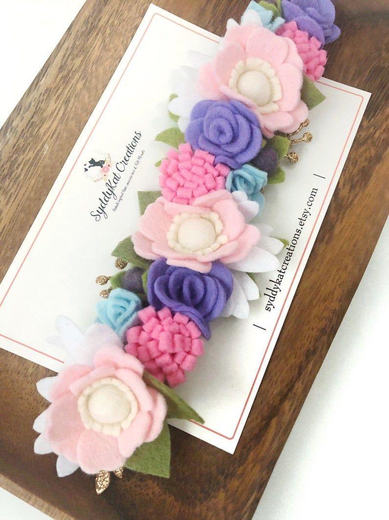 Pastel Felt Flower Headband, Girl's Felt Flower Crown, Newborn Photo Prop #feltflowerheadbands