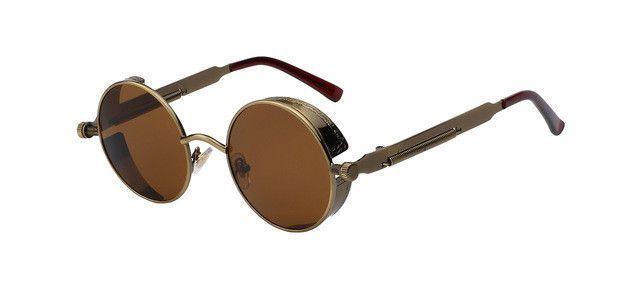Round Metal Sunglasses Steampunk Men Women Fashion Glasses Brand Designer  Retro Vintage Sunglasses UV400 9c3d230d31