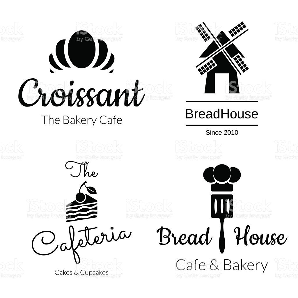 Black Bakery Logo Set Croissant Cake Mill Elements Vector