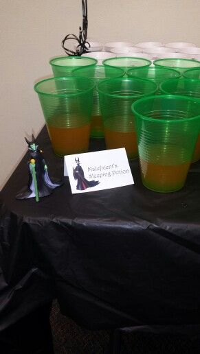 Maleficent sleeping potion for library Disney villains party