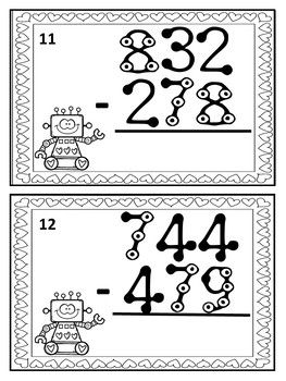 Valentine's Day Touch Math Subtraction Task Cards: Triple